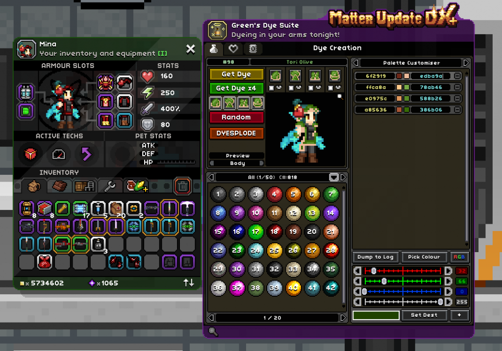 """Starbound - How To Make Coloured Dye In """"Green's dye suite"""""""
