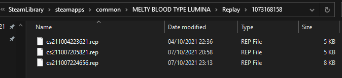 MELTY BLOOD: TYPE LUMINA - Where to find your replays - Replay folder